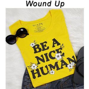 Be A Nice Human Yellow Shirt Size XL NWT